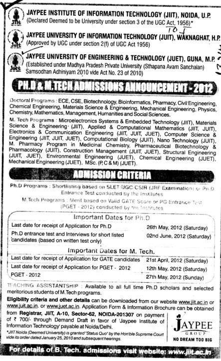 MTech and PhD Programmes (Jaypee University of Engineering and Technology (JUET))