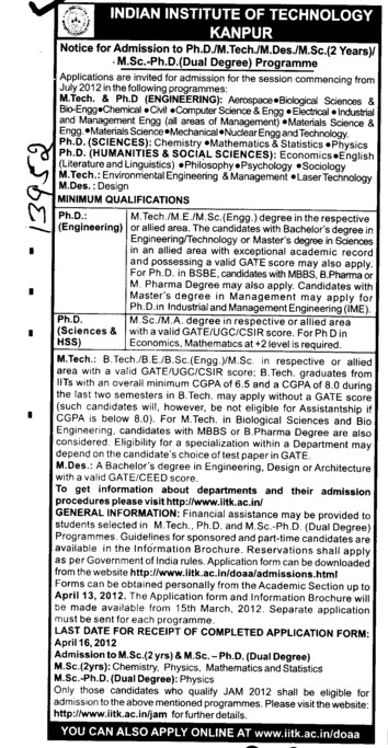 PhD Programme (Indian Institute of Technology (IITK))
