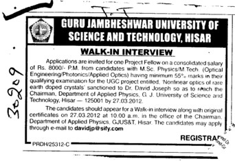 Project fellow on a Consoldation salary (Guru Jambheshwar University of Science and Technology (GJUST))