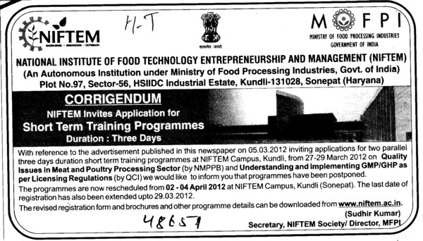 Short term Training Programmes (National Institute of Food Technology Entrepreneurship and Management (NIFTEM))