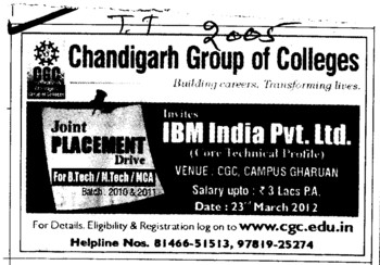Joint Placement Drive for MBA and MCA (Chandigarh Group of Colleges)