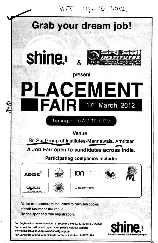 Plecement Fair 2012 (Sri Sai Group of Instituties (SSGI))