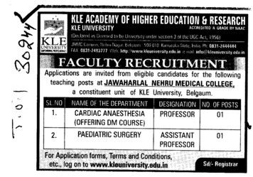Cardiac Anaesthesia and Paediatric Surgery (KLE University)