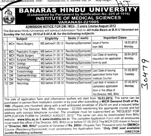 Three years DM MCh Course (Banaras Hindu University)
