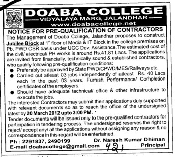 Pre qualification of Contractors (Doaba College)