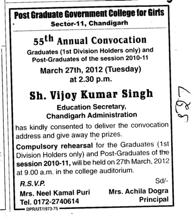 55th Annual Convocation 2010 2011 (Post Graduate Government College (Sector 11))