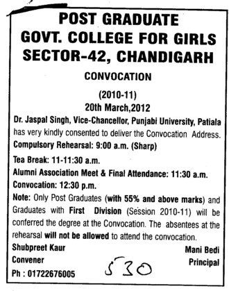 Annual Convocation 2010 2011 (PG Government College for Girls (GCG Sector 42))