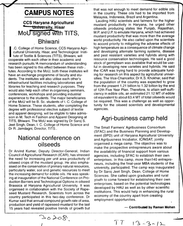 National Conference on oilseeds and Agri business camp held (Ch Charan Singh Haryana Agricultural University (CCSHAU))