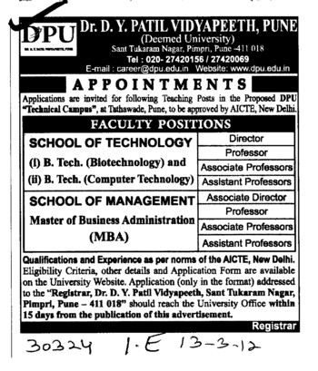 BTech in Biotechnology and Computer Technology (Dr DY Patil University)