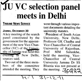 JU VC selection panel meets in Delhi (Jammu University)