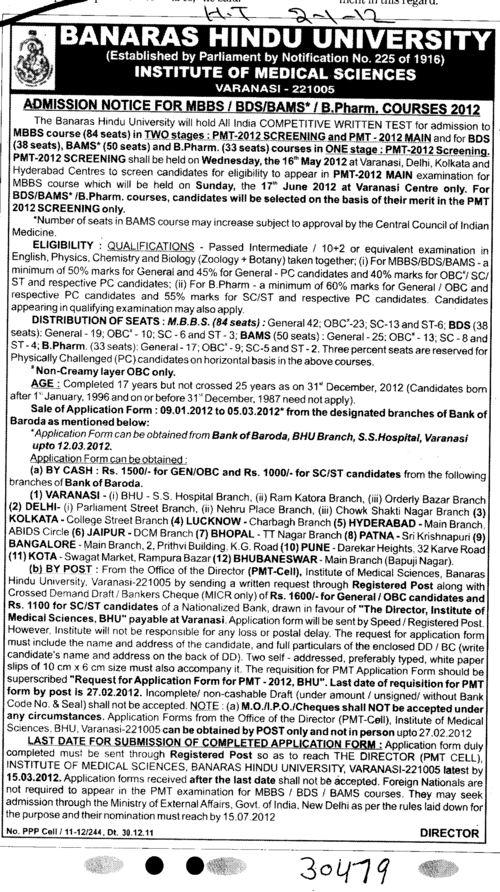 MBBS,BDS,BAMS and B Pharm etc (Banaras Hindu University)