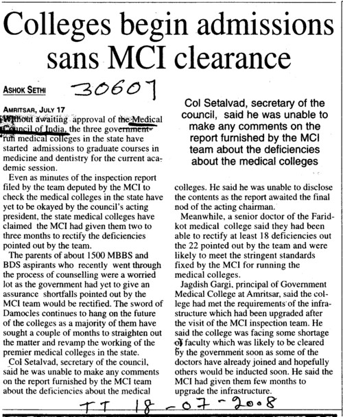 Colleges begin admissions sans MCI clearance (Medical Council of India (MCI))