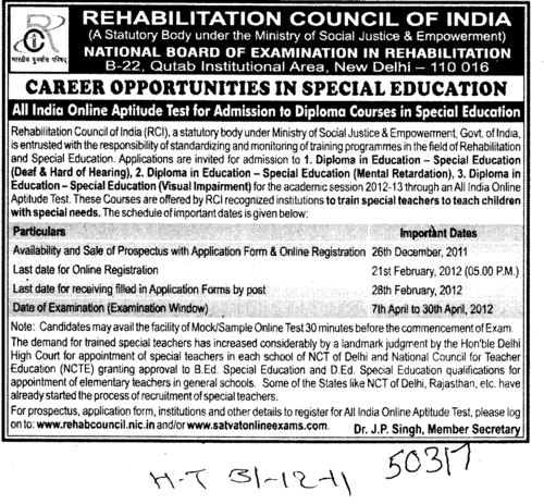 Diploma Courses in Social Education (Rehabilitation Council of India)