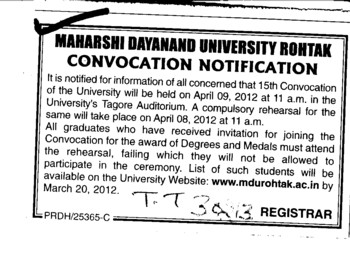 15th Annual Convocation 2012 (Maharshi Dayanand University)