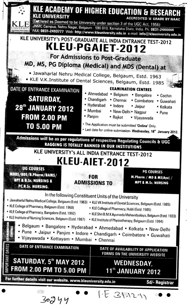 MD,MS.MDS and PG Diploma Courses (KLE University)