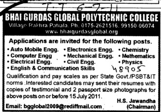 Faculty required for BTech Course (Bhai Gurdas Global Polytechnic College)