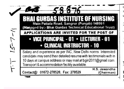 Vie Principal,Lecturer and Clinical Instructor etc (Bhai Gurdas Institute of Nursing)