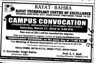 Campus Convocation on 17 March 2012 (Rayat and Bahra Group)