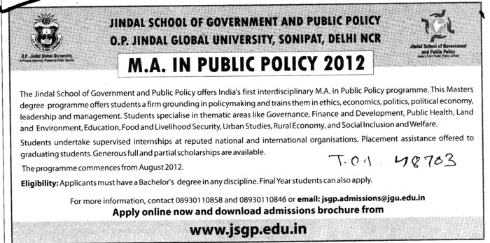 MA in Public Policy Programme 2012 (OP Jindal Global University)