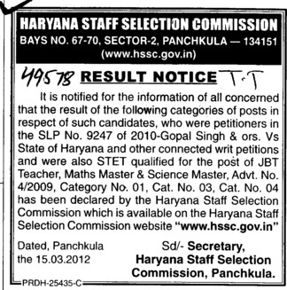 Result Notice of Haryana State Students (Haryana Staff Selection Commission (HSSC))