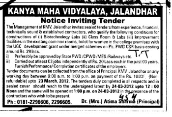 Const of Biotechnology Labs and Class Rooms etc (Kanya Maha Vidyalaya)