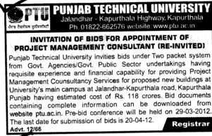 Bids for Appointment of Project Management Consultant (Punjab Technical University PTU)