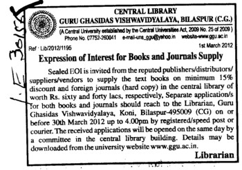 Books and Journals Supply (Guru Ghasidas University)