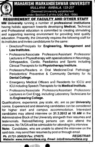 Professor,Asstt Professor and Associate Professor etc (Maharishi Markandeshwar University)