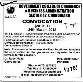 Annual Convocation 2010 2011 (Government College of Commerce and Business Administration (Sector 42))