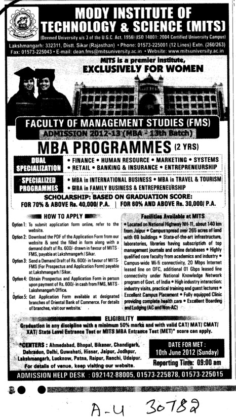 MBA Programmes (Modi University of Science and Technology (MITS))