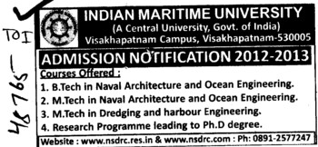BTech and MTech Courses (Indian Maritime University)