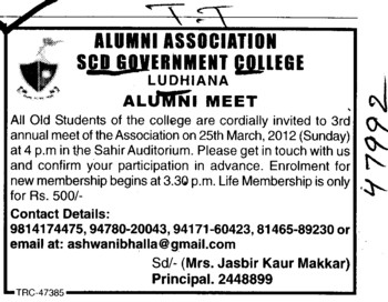 Annual Alumni Meet on 25th March, 2012 (SCD Govt College)