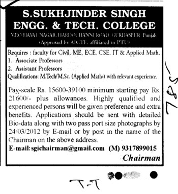 Assitant Professor for BTech Course (Sukhjinder Singh Engineering and Technology College)