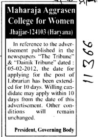 Librarian required on regular basis (Maharaja Aggrasen College for Women)