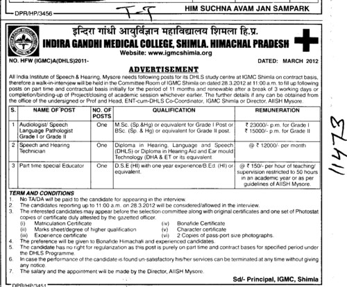 Speech and Hearing Technician and Part time special Educator etc (Indira Gandhi Medical College (IGMC))