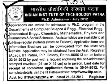 PhD Program 2012 (Indian Institute of Technology IIT)