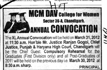 Annual Convocation on 21 March 2012 (MCM DAV College for Women)