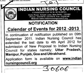 Calendar of Events for 2012 2013 (Indian Nursing Council (INC))