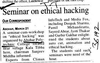Seminar on ethical hacking (Abohar Polytechnic College)