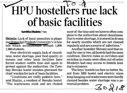 HPU Hostellers rue lack of basic facilities (Himachal Pradesh University)