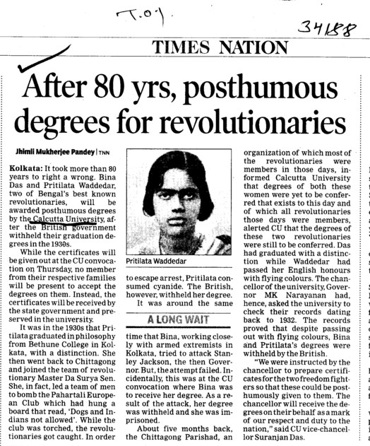 After 80 yrs,posthumous degrees for revolutionaries (University of Calcutta (CU))