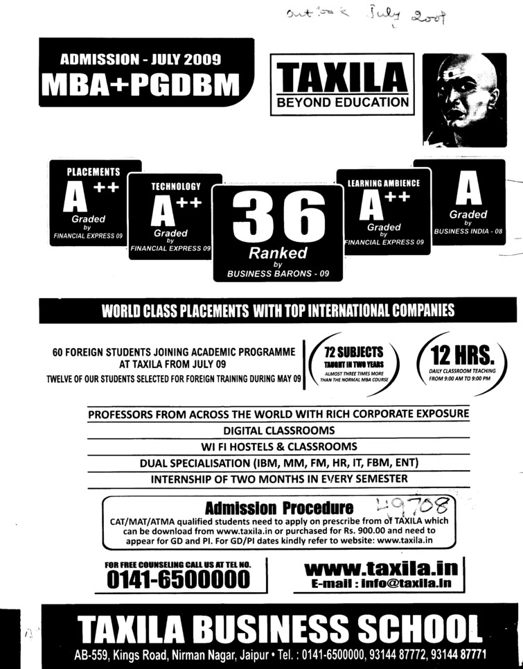MBA and PGDBM Courses (Taxila Business School)