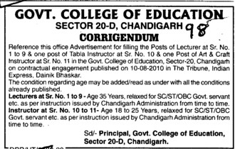 Lecturer and Tabla Instructor etc (Government College of Education (Sector 20))