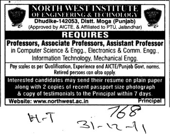 Professor,Asstt Professor and Associate Professor etc (North West Institute of Engineering and Technology NWIET Moga)