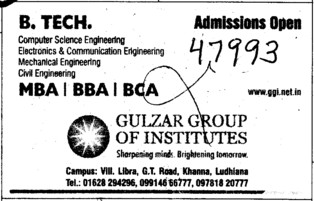 BBA,BCA and MBA Courses (Gulzar Group of Instituties Khanna)