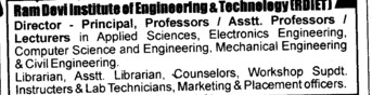 Dean,Professor,Asstt Professor and Associate Professor etc (Vishveshwarya Group of Institutions (VGI))