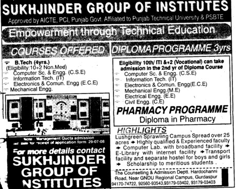 Three years Diploma course in Pharmacy Programmes (Sukhjinder Group of Institutes)