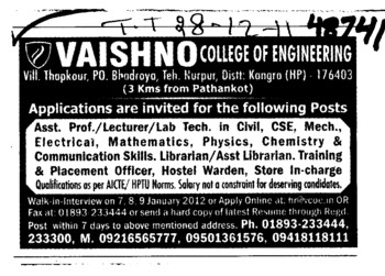 Asstt Professor,Lecturer and Lab Technician etc (Vaishno College of Engineering)