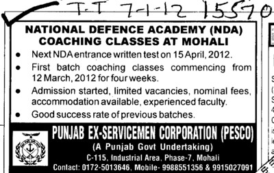 NDA Entrance written test on 15 April 2012 (National Defence Academy (NDA))