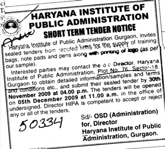 Supply of Training Bags,Note pads and Pens (Haryana Institute of Public Administration (HIPA))